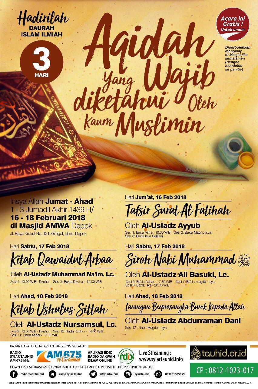 Aqidah Yang Wajib Diketahui Oleh Kaum Muslimin